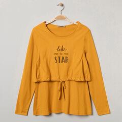 Tee-shirt manches longues homewear avec inscriptions