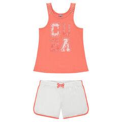 Junior - Pyjama avec débardeur printé et short en jersey uni