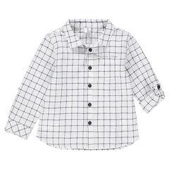 Chemise à petits carreaux all-over avec manches rétractables