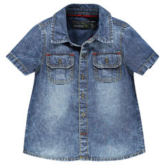 Chemise manches courtes en chambray effet jeans