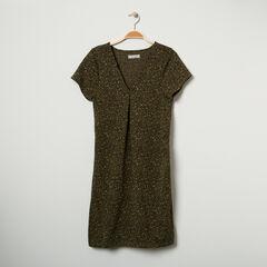 Robe de grossesse manches courtes imprimée léopard all-over
