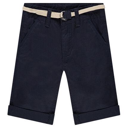 Bermuda en coton avec ceinture tressée amovible