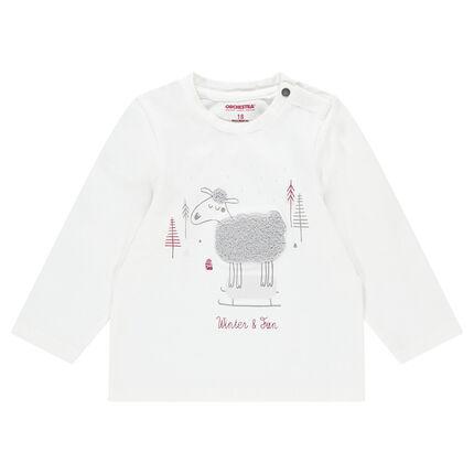 Tee-shirt manches longues en jersey avec mouton en bouclette