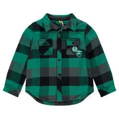 Chemise en flanelle à chevrons avec poches et badges