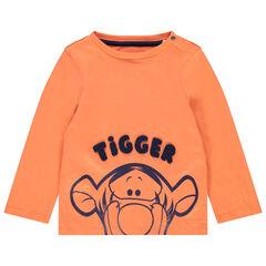 T-shirt manches longues orange en coton bio print Tigrou Disney