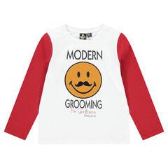 Tee-shirt manches longues bicolore en jersey avec ©Smiley en feutrine