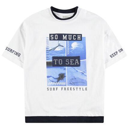 Junior - T-shirt manches courtes en jersey avec paysages et inscriptions printées