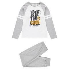 Junior - Pyjama en jersey avec message printé et bandes contrastées