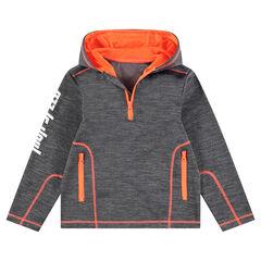 Junior - Sweat en polaire avec surpiqûres contrastées et poches zippées
