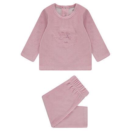 Pyjama en velours avec oiseau printé