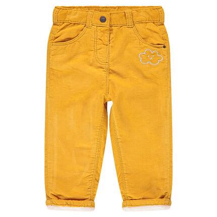 Pantalon en velours côtelé avec nuage brodé