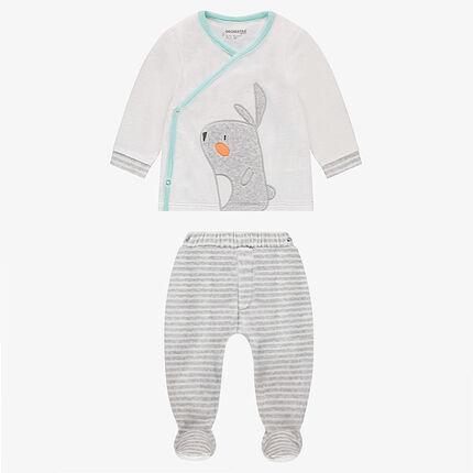Pyjama en velours avec lapin brodé et bas imprimé all-over
