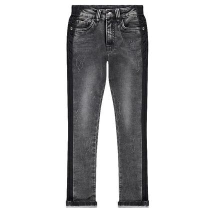 Junior - Jeans effet used avec bandes contrastées sur les côtés