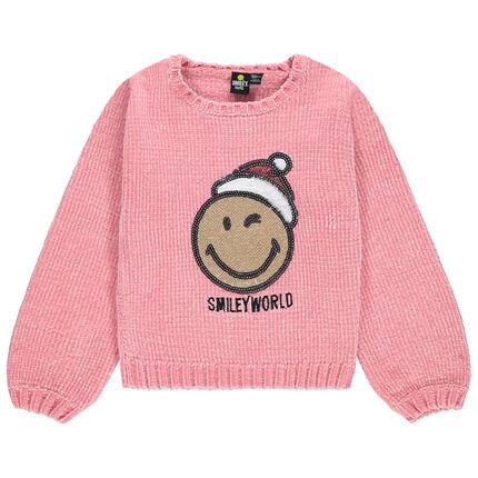 Pull en maille chenille avec Smiley en sequins esprit Noël