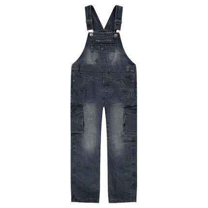 Salopette en jeans effet used et crinkle