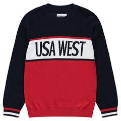 Junior - Pull en tricot avec bandes et inscription en jacquard