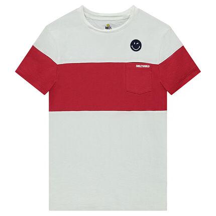 Junior - Tee-shirt manches courtes bicolore en jersey avec ©Smiley brodé