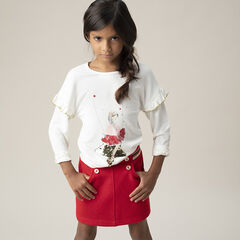 T-shirt en jersey à manches volantées print princesse et étoile en sequins magiques