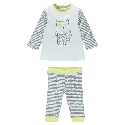 Ensemble réversible en jersey print oursons