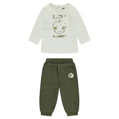 Ensemble tee-shirt printé et pantalon en velours kaki ©Smiley