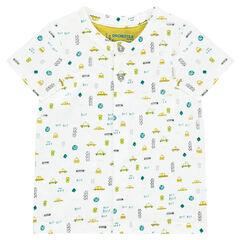 Tee-shirt manches courtes en jersey avec imprimé fantaisie all-over