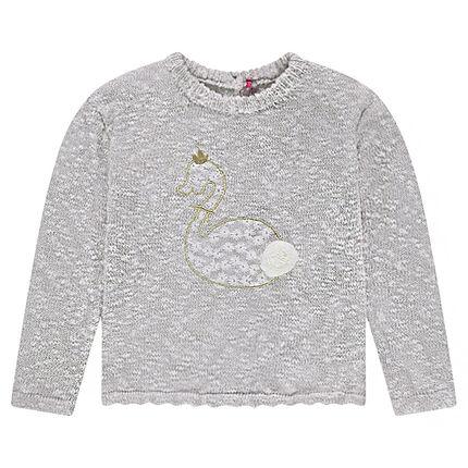 Pull en tricot twisté avec cygne brodé et pompon