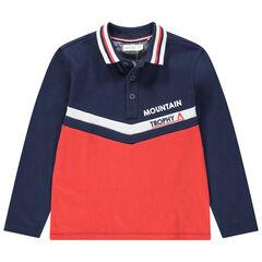 Polo manches longues en jersey bicolore avec inscription printée
