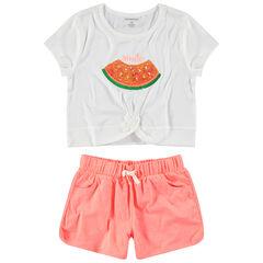 Junior - Ensemble avec pastèque en sequins et short en jersey chiné