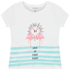 T-shirt manches courtes en coton bio à print fantaisie