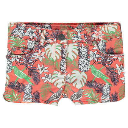 Junior - Short en twill imprimé tropical