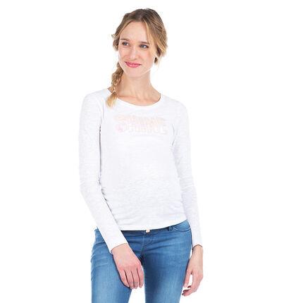 Tee-shirt manches longues de grossesse avec inscription iridescente