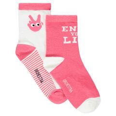Lot de 2 paires de chaussettes avec motifs main et message en jacquard