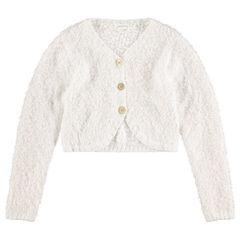Junior - Gilet en tricot pop-corn boutonné