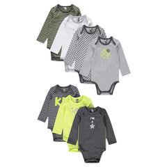 Lot de 7 bodies en jersey avec ouverture adaptée à l'âge