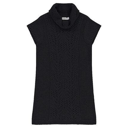 Junior - Robe manches courtes en tricot avec col roulé