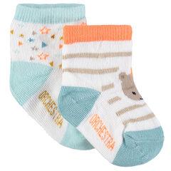 Lot de 2 paires de chaussettes assorties avec motifs en jacquard