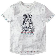 Junior - T-shirt manches courtes en jersey à imprimé tribal en envers