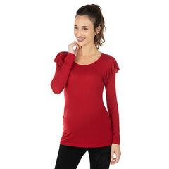 Tee-shirt de grossesse à manches longues volantées