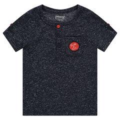 Tee-shirt manches courtes aspect neps avec poche plaquée