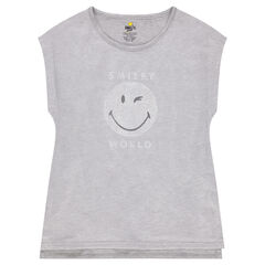 Junior - Tee-shirt manches courtes en jersey et mesh avec print ©Smiley