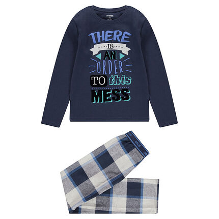 Junior - Pyjama avec haut printé et pantalon en flanelle à carreaux