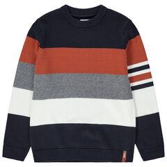 Junior - Pull en tricot à bandes contrastées