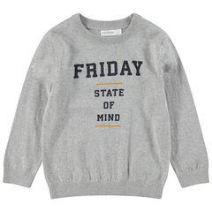Pull en tricot avec message printé sur le devant