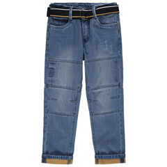 Jean droit effet used et crinkle à ceinture amovible ajustable