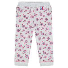 Pantalon de jogging en molleton imprimé fleurs
