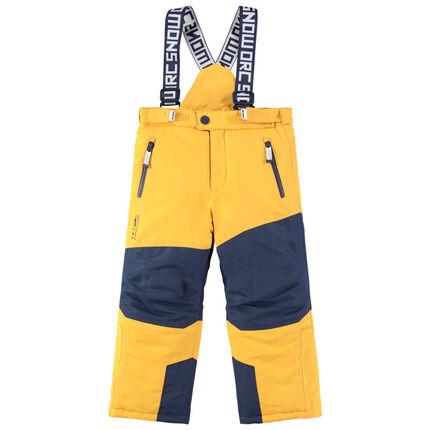 Pantalon de ski bicolore imperméable à bretelles ajustables et amovibles