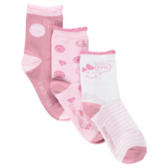 Lot de 3 chaussettes assorties avec bord-côte fantaisie et motif ©Smiley