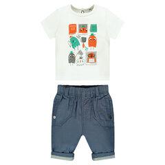 Ensemble tee-shirt manches courtes avec personnages printés et pantalon en chambray
