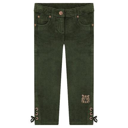 Pantalon en velours avec laçage sur le bas des jambes