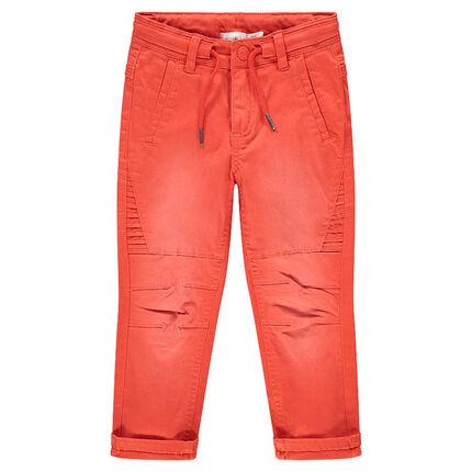 Pantalon en coton surteint orange effet used